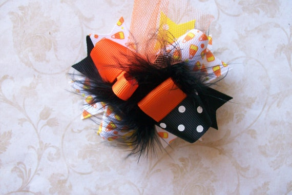 Classic Orange and Black Halloween---Hair Bow---MINI Funky Fun Over the Top Bow---Candy Corns