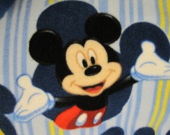 Mickey Mouse on Blue with Red Fleece Blanket - Ready to Ship Now