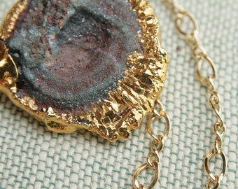 Druzy Pendant Necklace in Gold Filled, Chalcedony