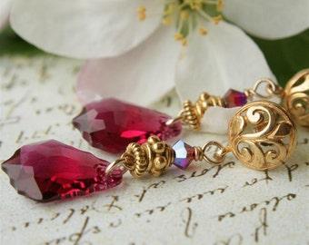 Swarovski Baroque Crystal and Gold Filigree Post Earrings