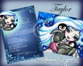 ACEO Taylor Penguin Tag Alongs Fantasy Art Card Atc Open Edition Double Sided