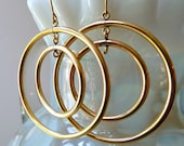 Gold Filled Dangle Circles on French Ear Wires- 42mm - Qty- 2 PCS (one pair)