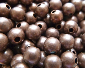 6mm Antiqued Copper Plated Brass Beads  -  Lead Free, Nickel Free -  Good Quality - Qty 25 pcs