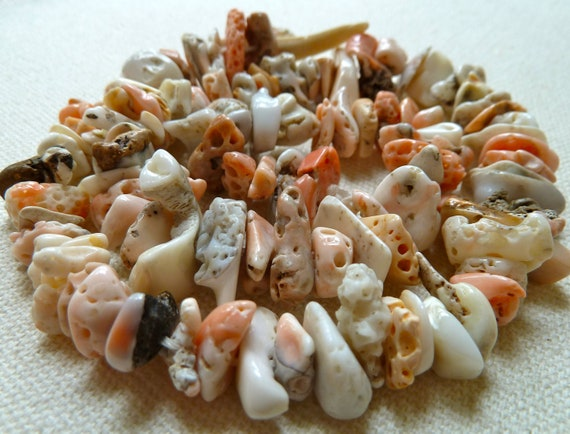 RESERVED for Patriciadear - Natural Coral Beads - ALL NATURAL -  Organic Shapes - Center Drilled -  Pink, White, Angel Skin