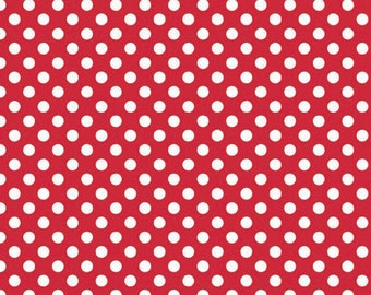 Red and White Small Polka Dot Cotton For Riley Blake, 1 Yard