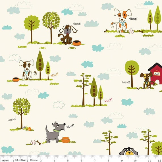 Cream and Blue Puppy and Tree Fabric, Puppy Park By Bella Blvd For Riley Blake, Main Print in Cream, 1 Yard