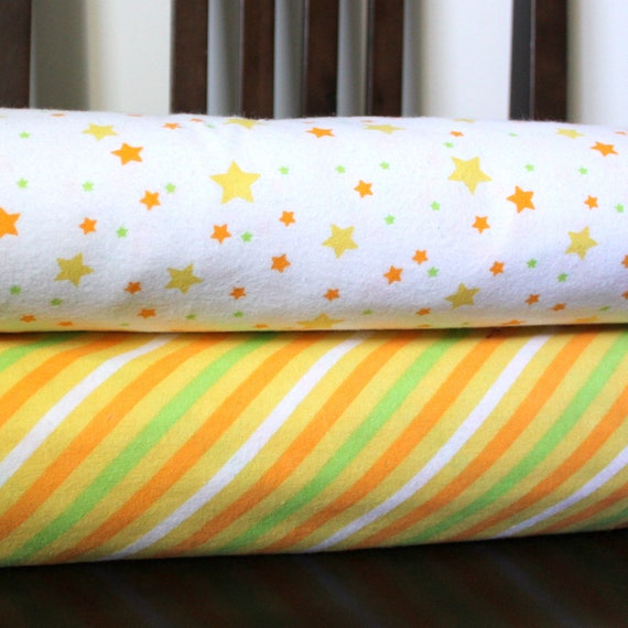 Orange Yellow and Green Star and Stripe Flannel Blanket Bundle, 2 yards