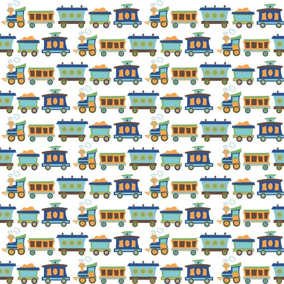 Bright Blue Orange and Brown Train Flannel, 1 Yard