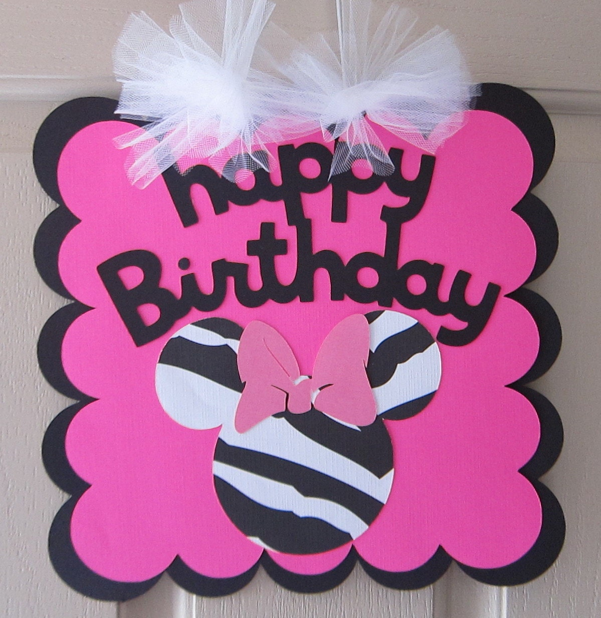 ON SALE Large Minnie Mouse Zebra Birthday Party Sign