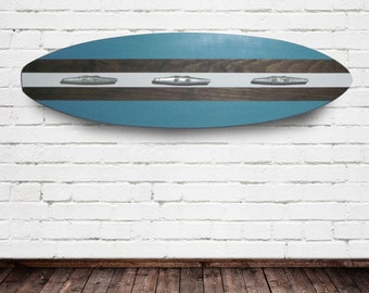 Turquoise Wood Surfboard Coat Rack with Three Boat Cleats 3 Feet Long