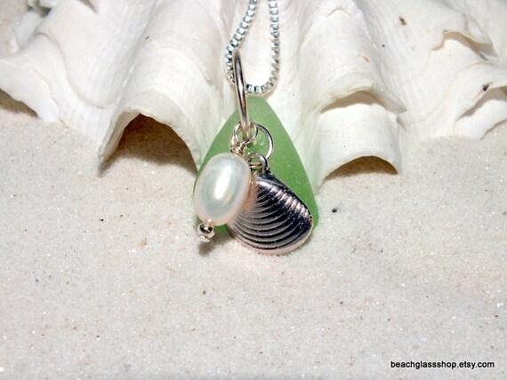 Sea Glass Beach Glass Pearl Seashell Charm Necklace Lake Erie Repurposed Bottle
