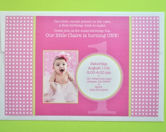Birthday Party Invitations - Girls 1st Birthday - Pink and Lime Green Birthday Party Decorations - Set of 12