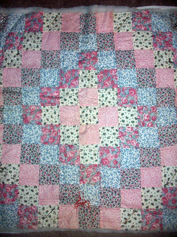 Patchwork Quilt Top for Baby or Wall Hanging, Ready to Finish