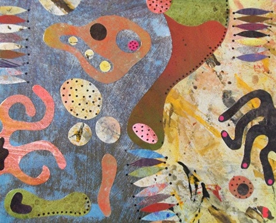 Contemporary collage highly unusual original painting hand made colourful vibrant mid century influence