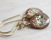 grey teardrop earrings with rose gold and gold glitter on gold earwires - silver and gold drop earrings - tinygalaxies