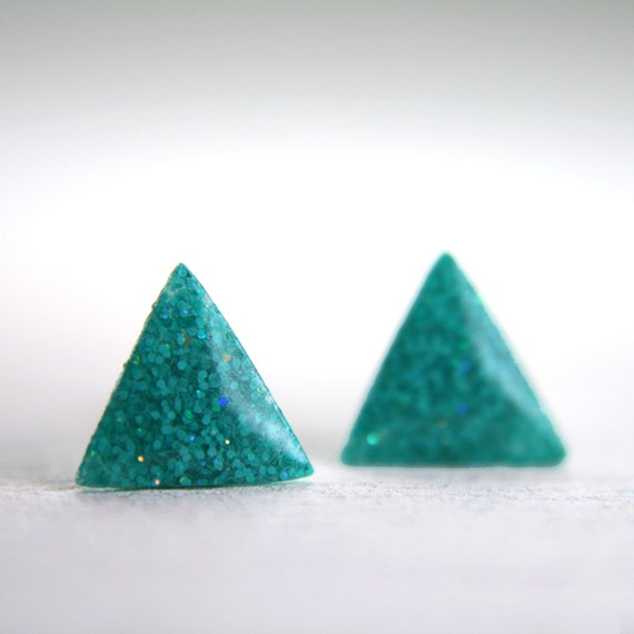 tiny triangle earrings in sparkly neon teal