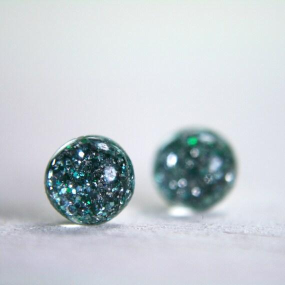 tiny globe earrings in seafoam green - 5mm