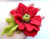 Red Poppy with Green Leaf  Wool Felted Flower Pin OOAK