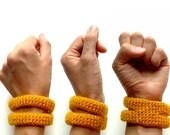 Crocheted bracelet in mustard - fall fashion - two rib cage cuff - vegan acrylic - Ready Handmade by dslookkin on Etsy