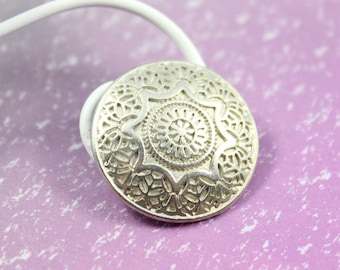 Metal Buttons - Medieval Mandala Metal Buttons , Silver Color , Shank , 0.79 inch , 6 pcs