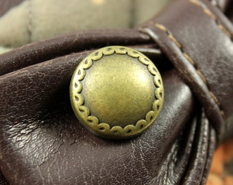 Metal Buttons - Flowery Edge Bead Metal Buttons , Antique Brass Color , Solid , Shank , 0.67 inch , 6 pcs