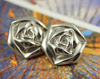 Metal Buttons - Rose Metal Buttons , Shiny Silver Color , Shank , 0.91 inch , 10 pcs