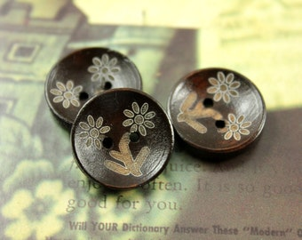 Wooden Buttons - Daisy Flower Pattern Brown Concave Wood buttons. 0.79  inch, 10 pcs