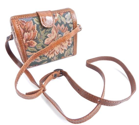 Vintage Brown Flower Purse -  Across Body Mini Bag / Roses