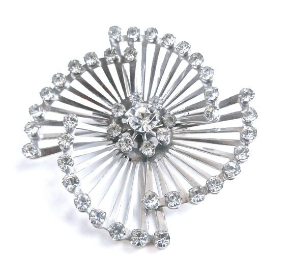 Coro Rhinestone Brooch - Vintage 1950s Silver Tone Signed Designer Costume Jewelry  / Swirl Spiral