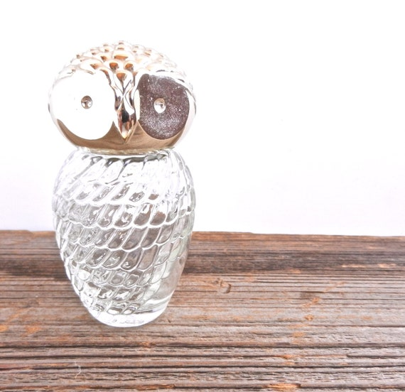 Retro Owl Perfume Bottle - Glass & Silver Tone Small Bottle / Vanity Bird