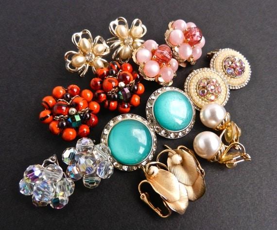 Vintage Clip On Earring Lot - 8 Pairs / Beaded, Rhinestones, Flowers, Faux Pearls, Teal, Pink