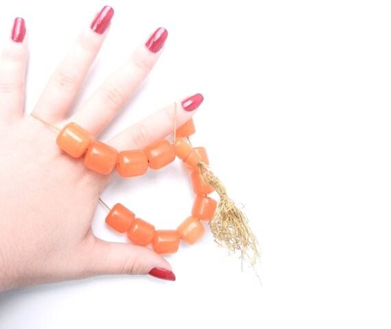 SALE - Orange Bakelite Beads - Vintage Chunky Tube Komboloi Worry Bracelet Beads  / Carrot Slices