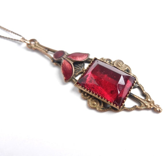 Antique Art Deco Necklace -  Red Glass & Enamel Costume Jewelry / Crimson Point