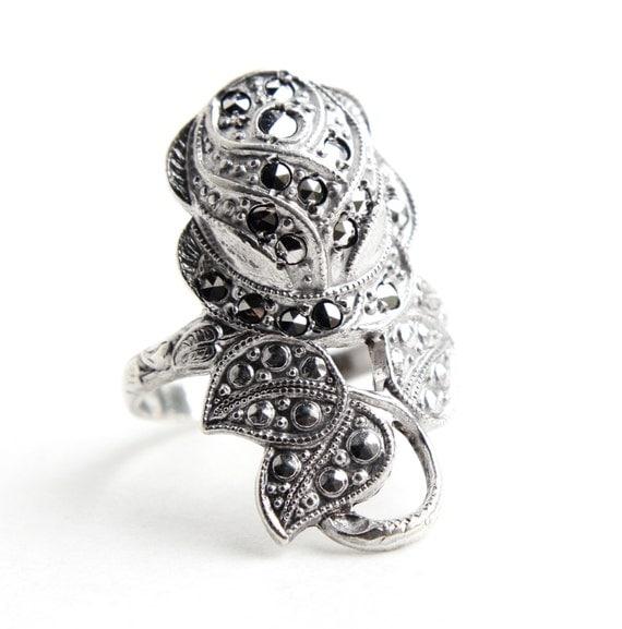antique deco marcasite ring 1920s 1930s size 6