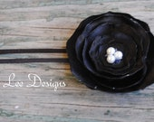 Black Satin Fabric Flower Headband 0-3 MonthsOTHER SIZES AVAILABLE - LauraLeeDesigns108