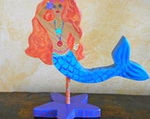 SALE 50% Off Original Price Free Standing 3-D Hand Painted Mermaid Folk Art Beach Cottage Decor