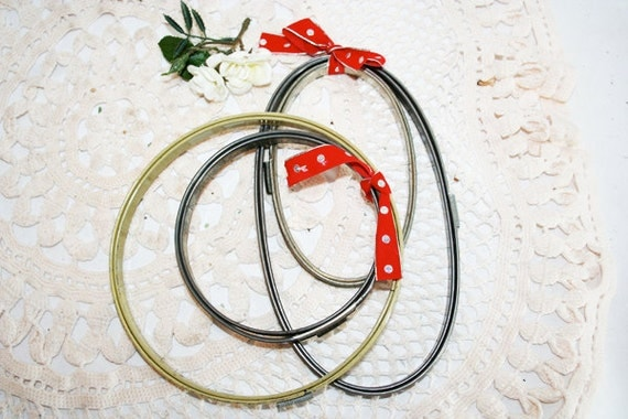 Old Metal Embroidery Hoops, Circles and Ovals