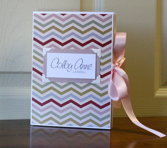 Baby Book, Girl, Chevron Pattern with vintage colors