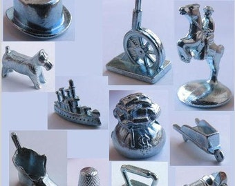 9 Vintage MINIATURE METAL Figural Monopoly Game Pieces Scottie dog Thimble shoe wheelbarrow old cannon Rearing horse race car iron Ship