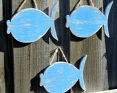 School Of 3 Wooden Fish, Beach-y Cottage Wall Hanging, Lake House Decor, YOU CHOOSE COLOR