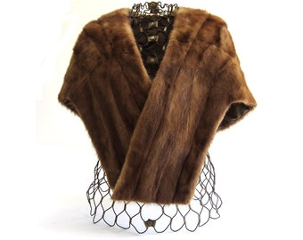 Vintage 50s Mink Stole with Medium Shawl Collar