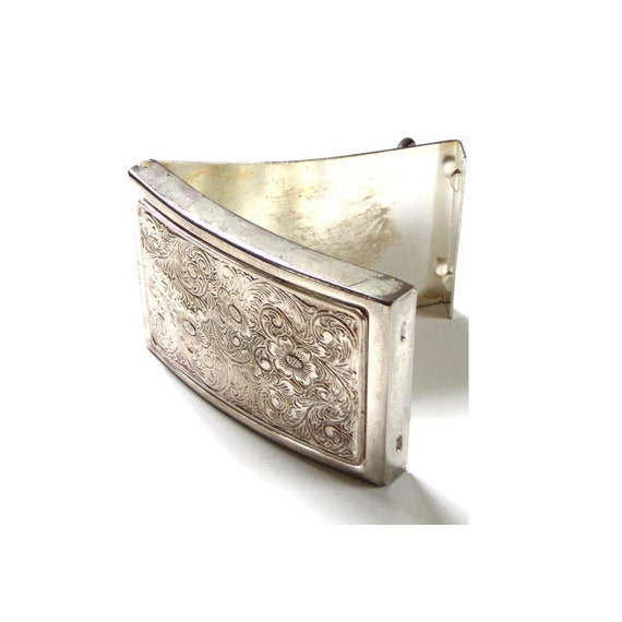 Vintage Silver Pocket Belt Buckle with Interior Money Clip