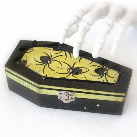 Halloween Coffin Box Decoupaged with Spiders Halloween Keepsake Box Halloween Decoration Black and Green Gothic Goth Box