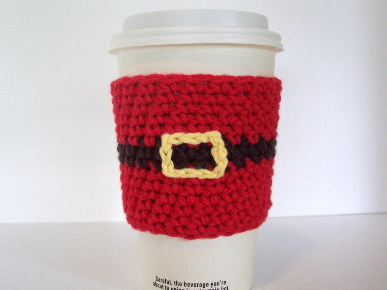 Items similar to Santa Coffee Cup Cozy / Crochet Cotton ...