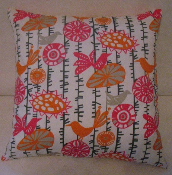 SALE New TWO 18 X 18   Pillow Covers  Menagerie Sherbert
