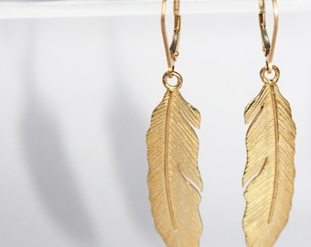 delicate feather earrings. brass with 14k gold. lightweight dangle •• sara earrings