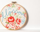 Embroidery Hoop Wall Art. Blossom. Hand Embroidered. 6 inch Hoop. Vintage Inspired Floral Fabric. Handmade by merriweathercouncil on Etsy