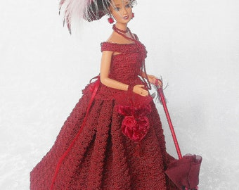 Crochet Red Doll,Victorian Crochet Bustle Doll, Christmas Crochet Doll,Victorian Doll