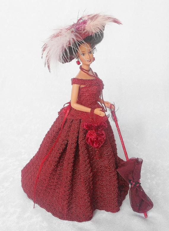 Crochet Red Doll,Victorian Crochet Bustle Doll, Christmas Crochet Doll,Victorian Doll