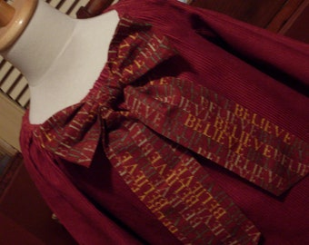 I Believe in .....Christmas, Maroon Peasant Dress, Size 5-6 OOAK